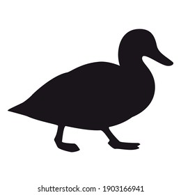 Duck silhouette, icon. Vector illustration on a white background.