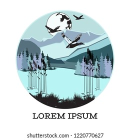 Duck silhouettes on forest and water background. Waterfowl game birds vector illustration. Poster, card and print design template.
