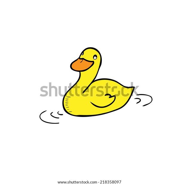 Duck Swimming Cartoon Drawing Vector Stock Vector Royalty Free 218358097