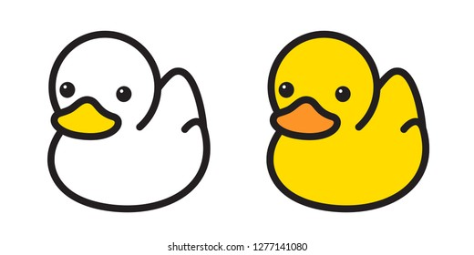 duck vector icon logo rubber duck bath shower cartoon character illustration bird farm animal symbol doodle
