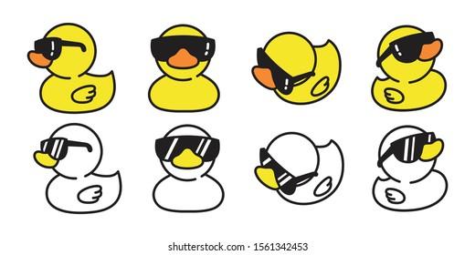 duck vector rubber duck icon logo sunglasses cartoon character illustration bird farm animal doodle design