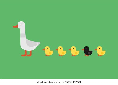 Duck with yellow ducklings and one black on green background.