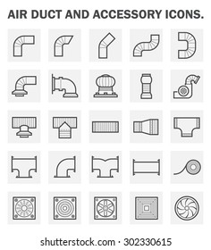 Duct pipe and part icon such as connector, fitting, fan, vent, tape, exhaust and grill vector icon set design for air distribution around building vector icon set design.
