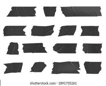 Duct tape, isolated vector black adhesive wrinkled scotch stripes, glued sticky tape pieces for fix, repair or packaging baggage. Realistic 3d insulating plaster or paper cut patches set