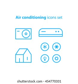 Ductless cooling and heating systems, home air conditioning service icons, climate control concept