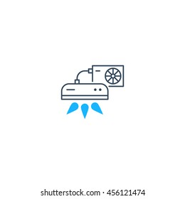Ductless cooling and heating systems logo, home air conditioning service icons, climate control concept