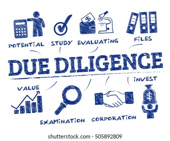 Due Diligence. Chart with keywords and icons