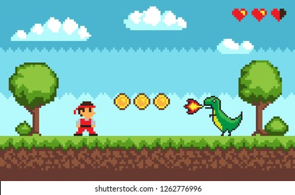 Duel between man and dragon with fire form the mouth near coins and hearts. Old style pixel scree of game on outdoor with trees and cloudy sky vector