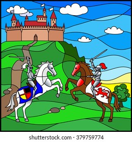 the duel of two knights on the background of castle in stained glass style. Stained glass window
