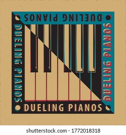 Dueling Pianos Avant Garde Poster Concept with Keys Inverted over Natural Yin Yang Style Composition and Logo Lettering - Black and White on Reverse Background - Vector Graphic Silhouette Design