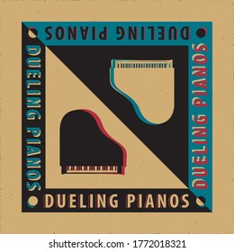 Dueling Pianos Avant Garde Poster Creative Concept with Two Grand Pianos Yin Yang Style Composition and Logo Lettering - Black and White on Reverse Background - Vector Graphic Silhouette Design