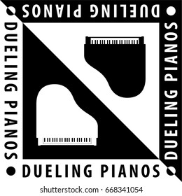 Dueling Pianos Logo Creative Concept with Two Grand Pianos Composition and Text - Black and White Elements on Reverse Background - Yin Yang Design Vector Graphic Silhouette