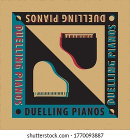 Duelling Pianos Avant Garde Poster Creative Concept with Two Grand Pianos Yin Yang Style Composition and Logo Lettering - Black and White on Reverse Background - Vector Graphic Silhouette Design