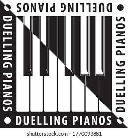 Duelling Pianos British English Concept with Keys Inverted over Natural Yin Yang Style Composition and Logo Lettering- Black Elements on White Background - Vector Contrast Graphic Design