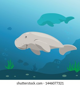 Dugong Swimming Under the Sea