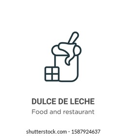 Dulce de leche outline vector icon. Thin line black dulce de leche icon, flat vector simple element illustration from editable food and restaurant concept isolated on white background