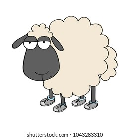 Dull sheep in shoes, standing and looking stupid - original hand drawn funny cartoon illustration