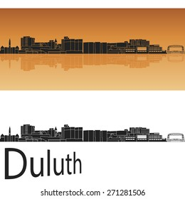 Duluth skyline in orange background in editable vector file