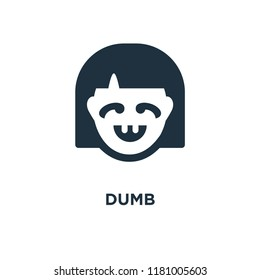 Dumb icon. Black filled vector illustration. Dumb symbol on white background. Can be used in web and mobile.