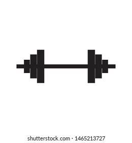 Dumbbell black icon on isolated background