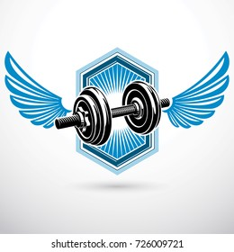 Dumb-bell with disc weight vector illustration created using wings. Gym power lifting sport equipment for heavy load pumping and weightlifting.