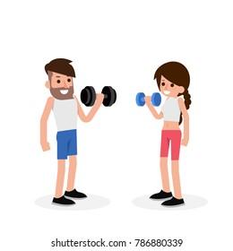 Dumbbell exercise cartoon, vector.