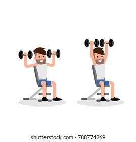Dumbbell exercise man flat design vector.