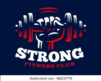 Dumbbell hand emblem illustration on dark background