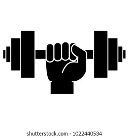 Dumbbell in hand. Icon on white background. Vector illustration
