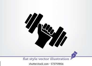 dumbbell in hand icon vector illustration eps10