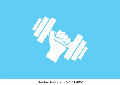 dumbbell in hand icon vector illustration.