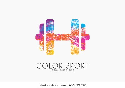 Dumbbell icon. color sport logo design. dumbbell symbol