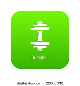 Dumbbell icon green vector isolated on white background