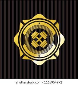 dumbbell icon inside gold badge or emblem
