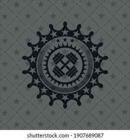 dumbbell icon inside realistic black emblem.
