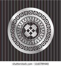 dumbbell icon inside silver emblem