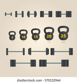 Dumbbell icons set. Gym equipment.