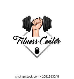 Dumbbell, Kettlebell badges. Fitness center logo label design. Hand holding dumbbell. Vector illustration