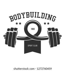 Сurved dumbbell silhouette. Template for bodybuilding and sport fitness logo, label, emblem, badge or branding design in retro, vintage style. Vector illustration.