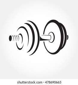Dumbbell sketch vector. Fitness logo symbol. Gym icon. Stylized illustration.
