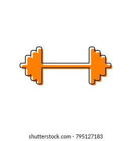 Dumbbell weights sign. Vector. Black line icon with shifted flat orange filled icon on white background. Isolated.