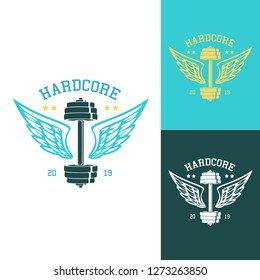 Dumbbell with wings. Template for bodybuilding and sport fitness logo, label, emblem, badge or branding design in retro, vintage style. Vector illustration.