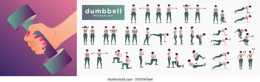 Dumbbell Workout Set. Women workout fitness, aerobic and exercises. Vector Illustration.