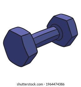 Dumbbells for fitness. Kilogram dumbbells. For fitness training. Exercises for the body. Cartoon style. Illustration for design and decoration.