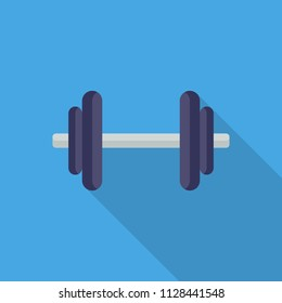 Dumbbells flat icon isolated on blue background. Simple Dumbbell symbol in flat style. GYM and fitness equipment Vector illustration for web and mobile design.