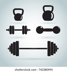 Dumbbells and kettlebells vector icon set.