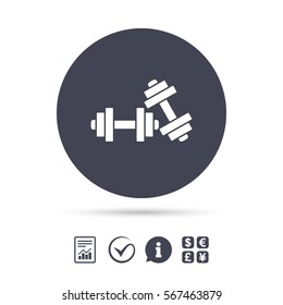 Dumbbells sign icon. Fitness sport symbol. Gym workout equipment. Report document, information and check tick icons. Currency exchange. Vector