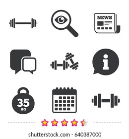 Dumbbells sign icons. Fitness sport symbols. Gym workout equipment. Newspaper, information and calendar icons. Investigate magnifier, chat symbol. Vector