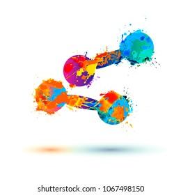 Dumbbells of splash paint symbol. Vector icon