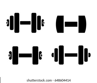 Dumbbells training vector icon on white background
